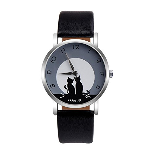 Uhren Dellin Damen Cute Cat Kunstleder Analog Quarzuhr (A)
