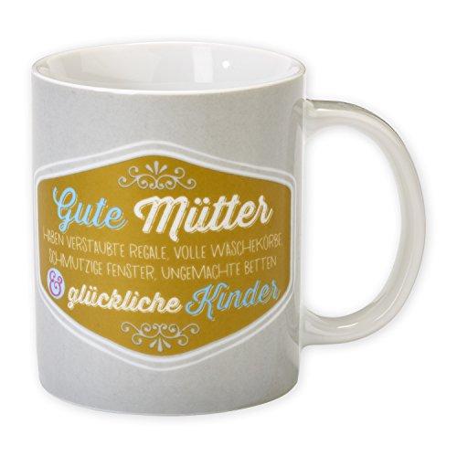 """H:)PPYlife 44069 Tasse """"Gute Mütter..."""", Porzellan, mehrfarbig, Geschenktasse"""