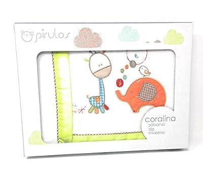 Pirulos - Sabanas invierno Coralina MINICUNA 50 X 80 - (bajera+encimera+funda almohada). Color (Blanco pistacho)
