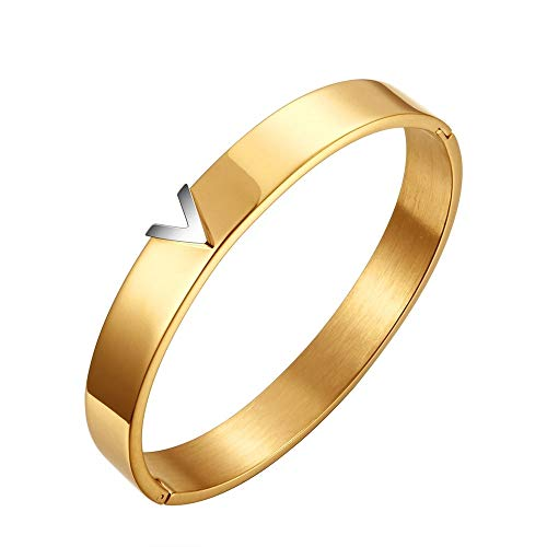 Armband Titan Stahl V-Form Love goldfarben