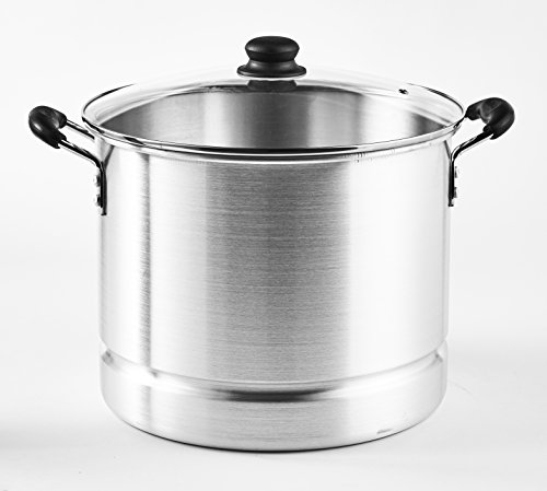 IMUSA USA MEXICANA-424 Tamale Steamer with Glass Lid, 24-Quart, Silver