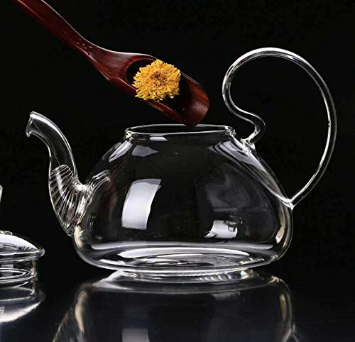 Yougernok Teekanne Aus Glas Hohe Borosilikatglas Teekanne Dicke Transparente Hochdruck-Drüse Topf Edelstahl Filter Früchtetee Gesundheit Topf Kann Erhitzt Werden, 800Ml -