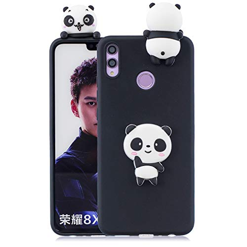 Artfeel Niedlich 3D Karikatur Hülle für Huawei Honor 8C, Tier Schwarz Panda Muster Weich Silikon Zurück Handyhülle,Ultra Dünn Flexibel TPU Stoßstange Stoßfest Schutzhülle