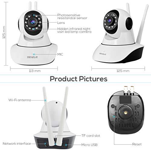 Überwachungskamera, IP-Kamera mit Nachtsicht/Zwei-Wege-Audio, 2,4 GHz WiFi Indoor Home Dome-Kamera für Haustiere, Fernüberwachungsmonitor mit MicroSD-Slot, Android, iOS App