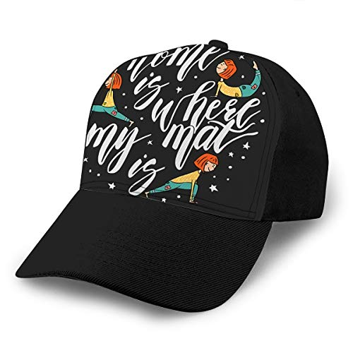 txregxy Baseball Cap Hats Adjustable Yoga Calligraphic Phrase Home Is Where My Mat Quote