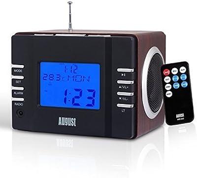 August MB300 - Radio FM MP3 y alarma despertador, potente radio estéreo con acabado de madera, lector de tarjetas, puerto USB, conexión auxiliar 3,5mm - 2 x 3W altavoces hifi con batería interna recargable y mando a distancia