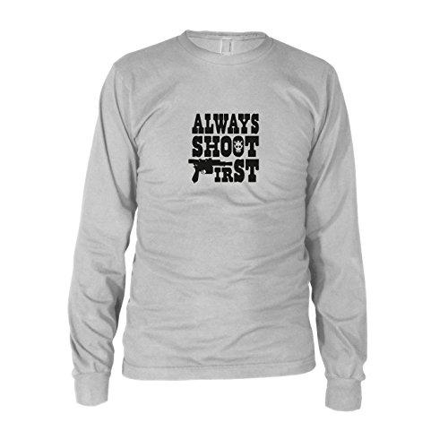 Always shoot First - Herren Langarm T-Shirt, Größe: XXL, Farbe: weiß (Star Wars Greedo Kostüm)