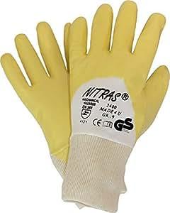 Lot de 12 paires de gants de travail/eN 388 jaune nitras premium cat 2 taille 8