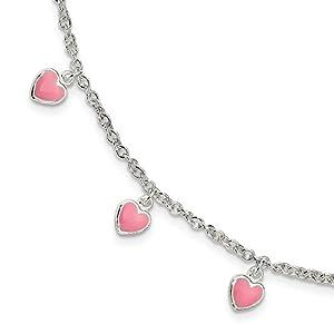 Sterling Silber Childerns emailierten Herzen mit, 5in Ext Armband–15cm