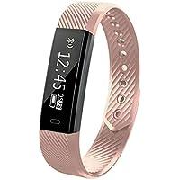 Fitness Tracker Smart Uhr mit Herzschlag Monitor Schritt Tracker Kalorienzähler Armband Wasserdicht Activity Tracker Schrittzähler für IOS Android Schwarz (Rose gold color)