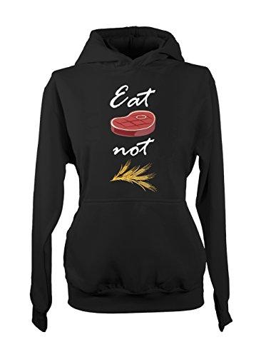 Eat Meat Not Wheat Amusant Sarcastic Food Cooking Baker Femme Capuche Sweatshirt Noir
