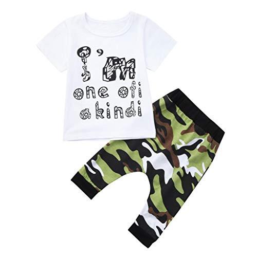JUTOO 2 Stücke Set Kleinkind Kinder Baby Boy Brief Outfits T-Shirt Tops + Camouflage Hosen Kleidung Set (Weiß,90)