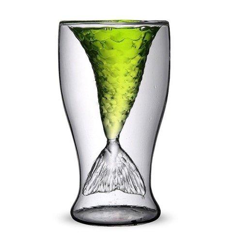 ANKKO kreative Glaswaren, Glas für Wein, Bier, Whisky oder Saft mit kreativen Meerjungfrauenschwanz-Design