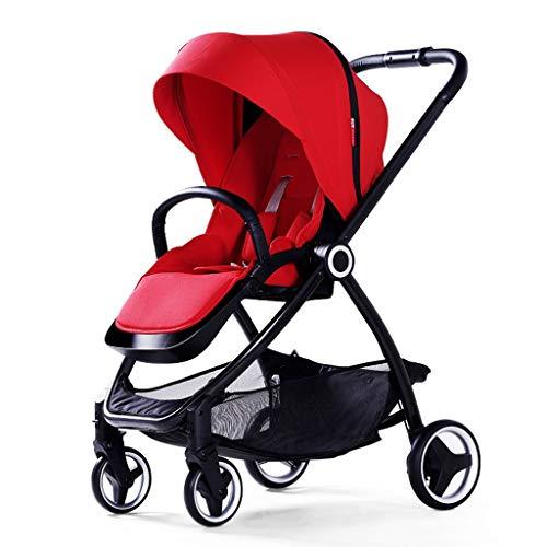Qi Tai- Klappbarer Kinderwagen Kinderwagen-Wagen Zwei-Wege-Hochlandschaftsregenschirm-Auto-Licht, das die Laufkatze der tragbaren Kinder faltet Babywagen (Farbe : Red)