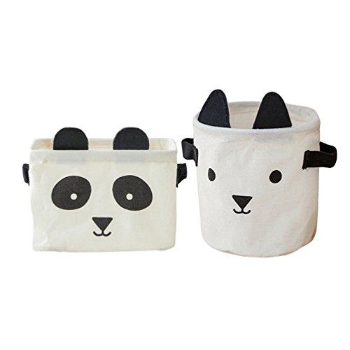 Inwagui Faltbare Aufbewahrungskörbe Klein Aufbewahrungsboxen aus Baumwolle Leinen Kinderzimmer Spielzeug Organizer Deko Korb, 2er-Set (Panda&Hunde, Schwarz&Weiß) -
