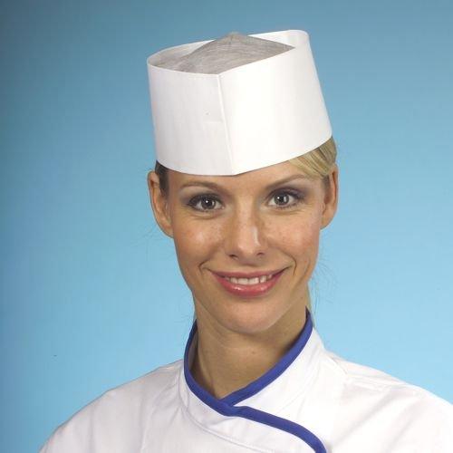 25 x Schiffchen / Kochmütze aus saugfähigem Papier 9 cm x 27,5 cm weiss größenverstellbar im Spenderkarton Küche Koch