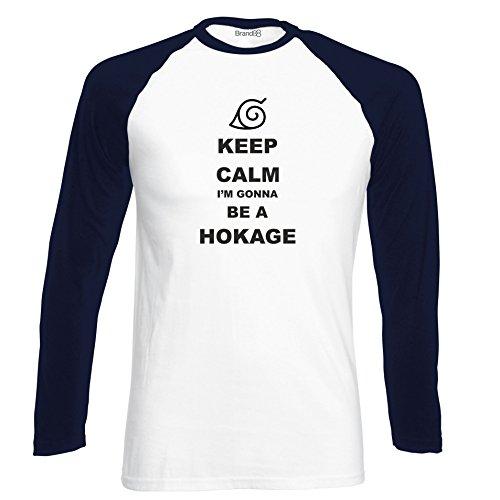 Brand88 - Keep Calm I'm gonna be Hokage, Langarm Baseball T-Shirt Weiss & Dunkelblau