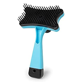 AmamMry Grooming Rake Comb Pet Dog Cat Hair Fur Shedding with Trimmer Push Plate Design to Remove the Hair (Sky Blue)