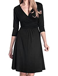 Glamour Empire Women's Knee Length 3/4 Sleeve Viscose Circle Dress 282