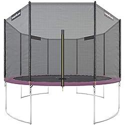 Trampolin.one by Ultrasport Trampoline de jardin Starter, trampoline pour enfant, set complet avec tapis de saut, filet de sécurité et revêtement pour les bords, Rosé, 366 cm