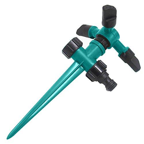 Rasensprenger Sprinklerkopf, Automatische Wassersprenger 360 ° Rotation, Garten Sprinkler 3 Arm mit Auswirkungssprinkler, Einstellbarer Winkel und Abstand für Garten Rasen Bewässerung