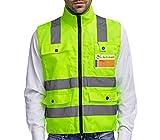 Profi Warnweste XL Sicherheitsweste Warnjacke Neon Gelb Signalweste Knitterfrei mit Reflektorstreifen & Reißverschluss mit vier große Taschen