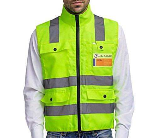 Sicherheitsweste mit Reißverschluss M in Gelb | Hohe Sichtbarkeit | 4 Große Taschen | Reflektierende Arbeitsweste -