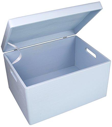 LAUBLUST Holzkiste zur Geburt Größe XL - Kiefer Blau ca. 40 x 30 x 24 cm - Baby Erinnerungskiste mit Griffen - Runde Kanten und Deckel aus Vollholz