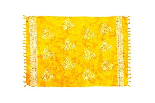 MANUMAR Damen Sarong Blickdicht | Pareo Strandtuch | Leichtes Wickeltuch in gelb mit Schmetterling-Motiv mit Fransen/Quasten | 155x115 cm | Sauna-Handtuch | Haman-Tuch | Bikini | Bali