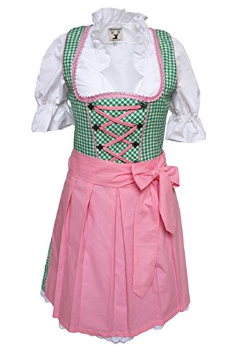 Alpenmärchen, 3tlg. Dirndl-Set - Trachtenkleid, Bluse, Schürze, Gr. 38, grün-rosa - ALM457