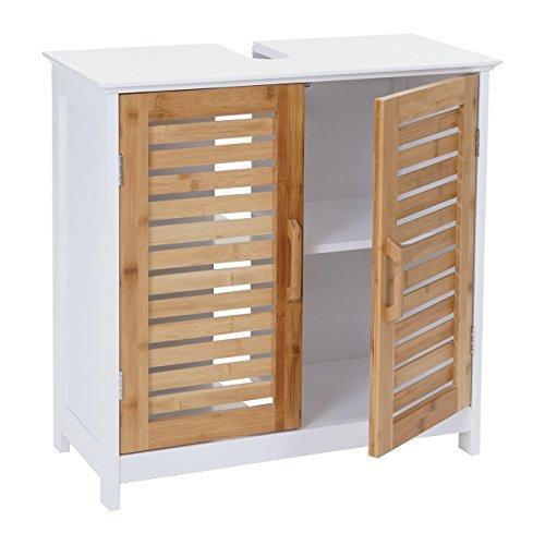 Mendler Waschbeckenunterschrank HWC-B41, Badschrank mit Staufach, Bambus, weiß 60x60x30cm