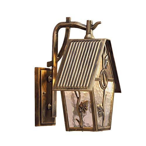 Energiesparende und umweltfreundliche Wandleuchte Einzelnen Garten im Freien wasserdichte Terrasse Wandleuchte Gang Garten Balkon Dekoration Lampe Dekoratives Licht (Color : Brass) -