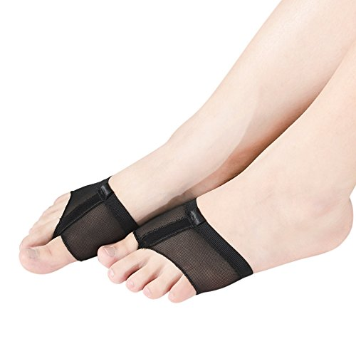 MiDee füße zehen tanga volle sohle lyrischen tanz pad (S, Schwarz) (Lyrische Kostüme Für Tanz)