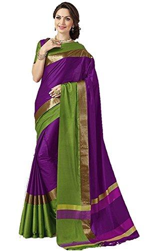 Art Decor Cotton Silk Designer Saree With Blouse (20 Colors Available) (Purple)
