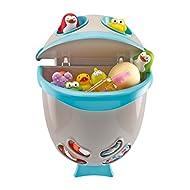 Thermobaby - Caja de almacenamiento de juguetes, diseño de pez, color azul turquesa y gris