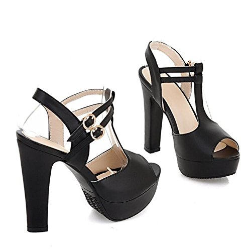 Lemon&T Summer Solid Color PU Peep-toe Women Rubber Sole 12CM haut Chunky talons sandales avec flatforms Black
