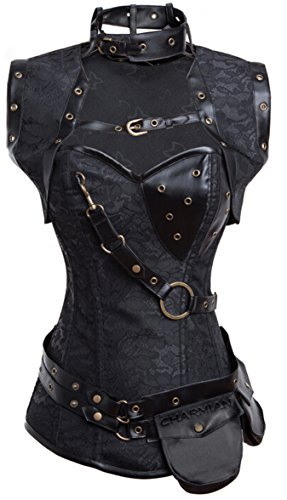 Charmian Women's Retro Goth Spiral Steel Boned Brocade Steampunk Bustiers Corset with Jacket and Belt Black XX-Large