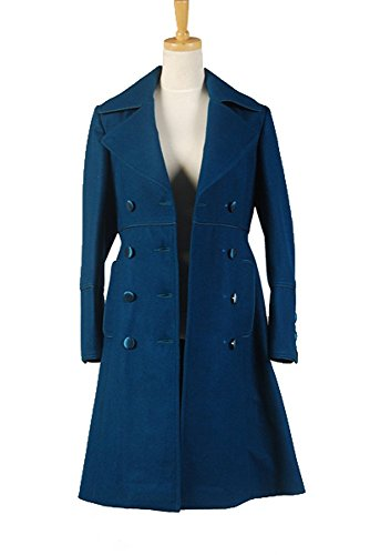 Doctor Who Amy Teal Wool Coat Cosplay Kostüm Damen L (Amy Kostüm Blau)