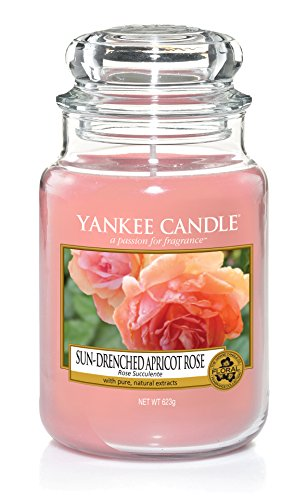 Yankee Candle Sun-Drenched Apricot Rose Glaskerze, Pink, 10,7 x 10,7 x 16,8 cm