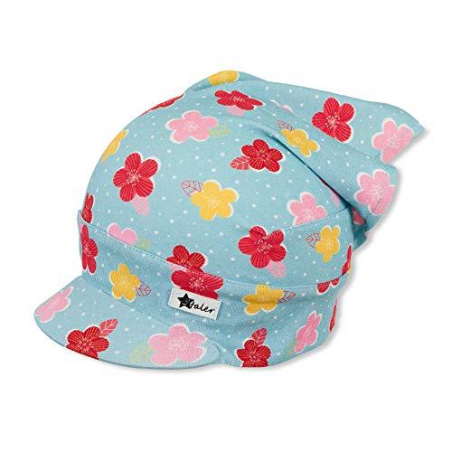 Sterntaler Sterntaler Kopftuch für Mädchen mit buntem Blümchenmuster, Alter: 9-12 Monate, Größe: 47, Hellblau