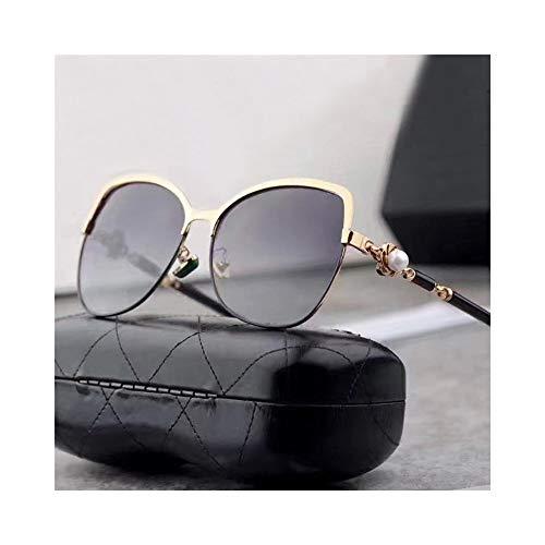 Honneury Frauen Klassische polarisierte Sonnenbrille, Mode-Stil, UV-Schutz (Farbe : Gold/Grey)
