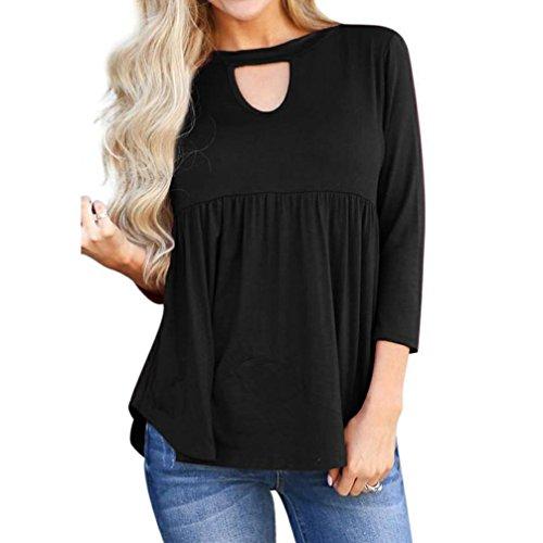 ❤️ Camisas Mujer, Tefamore O-Cuello Blusa DE 3/4 Manga Mujer Sólido Hueco Camiseta de Tops Otoño Casual Pliegues Ondulados T-Shirt
