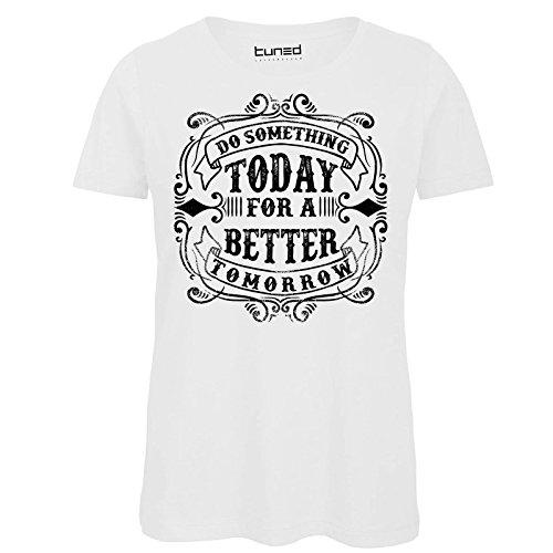 CHEMAGLIETTE! T-Shirt Divertente Donna Maglietta con Stampa Frasi Ironiche Do Something Tuned Bianco