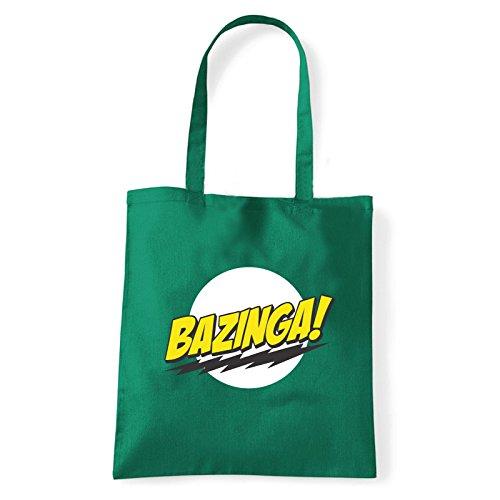 Art T-shirt, Borsa Shoulder Bazinga, Shopper, Mare Verde