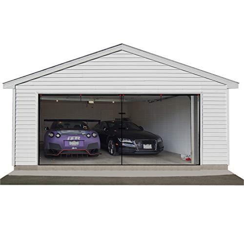 Garten Zwei Auto Garage Tür Bildschirm Vorhang, 520x220cm Bug-Moskito-Bildschirm für Garagentor mit Klettverschluss Einfach Zu Installieren Langlebiges Garagenbildschirm-Abdeckungs-Kit