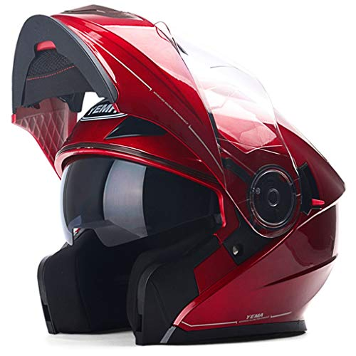 NJ Helm- Helm, Regen- und UV-Schutzhelm, Doppelschichtlinse (Color : Red, Size : XL)