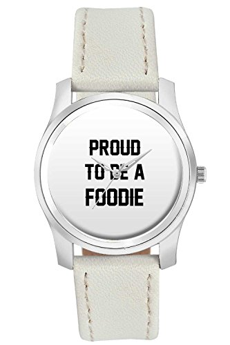 BigOwl Proud To Be A Foodie Best Gift For FOODIE Fashion Watches for Girls - Awesome Gift for Daughter/Sister/Wife/Girlfriend - Casual Quirky Typography Designer Analog Leather Band Watch (Perfect Gift for Girls)