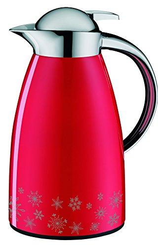 alfi 1421.710.100 Isolierkanne Signo, Edelstahl Rot Winter Edition 1,0 l, 12 Stunden heiß, 24 Stunden kalt
