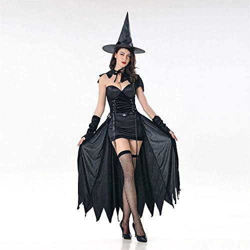 Fashion-Cos1 Magische Hexen Kostüm Halloween Cosplay Hexe Kostüm Erwachsene Frauen Phantasie Maskerade Bühnenkostüm Kleid Hut