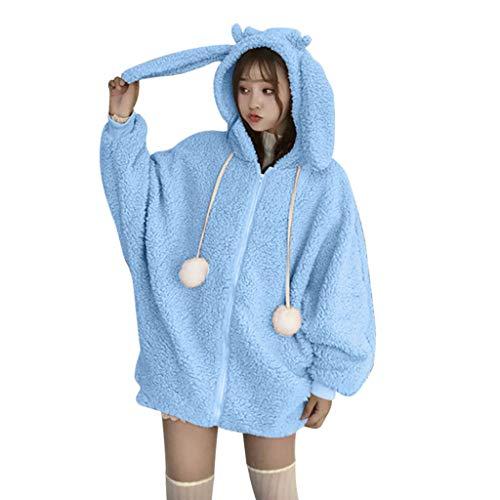 Kolila Damen Cute Plüsch Mantel Rabbit Ear Hooded Oberbekleidung Lose Frauen Winter Warm Kunstpelz Jacke mit Pompon Tunnelzug